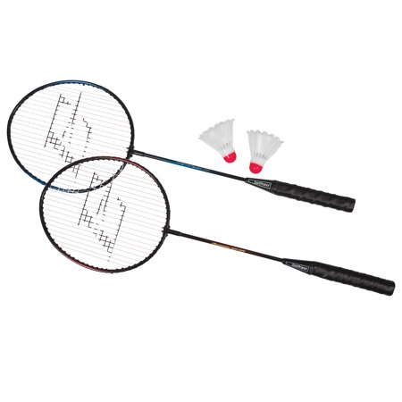 EastPoint Sports 2 Player Badminton Racket Set; Contains 2 Rackets with Tempered Steel Shafts and Soft, Comfortable Handles and 2 Durable, White Shuttlecocks for Entertainment with Friends and (Best Yonex Badminton Racket 2019)