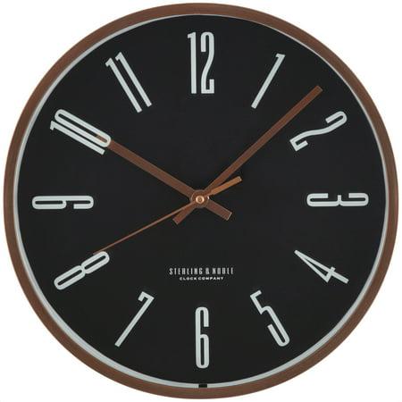 "Mainstays 11.5"" Black and Rose Gold Wall Clock"