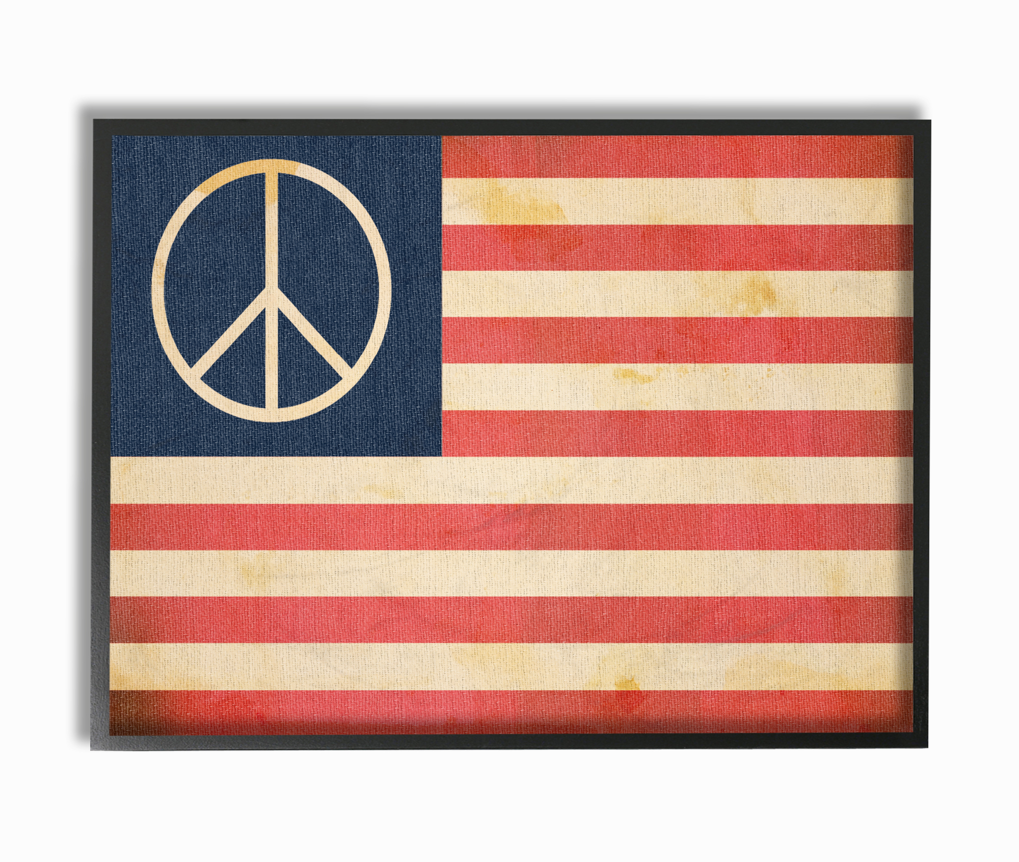 The Stupell Home Decor Collection Peace American Flag Oversized Framed Giclee Texturized... by Stupell Industries