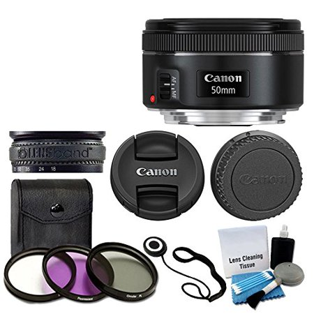 Canon EF 50mm f/1.8 STM Lens For Canon Cameras With 3 Piece Filter Kit (UV-CPL-FLD) + Lens Cleaning Kit ()