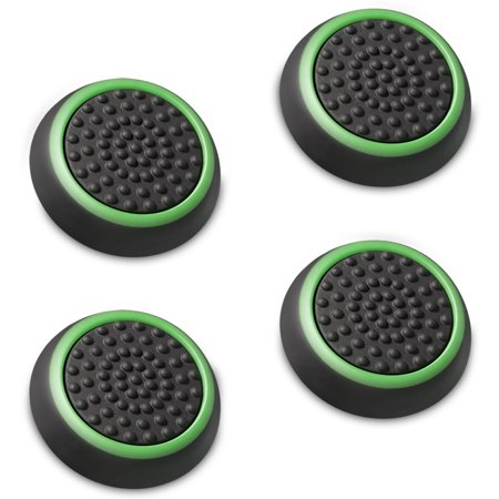 Fosmon [Set of 4] Analog Stick Joystick Controller Performance Thumb Grips for PS4 | PS3 | Xbox ONE, ONE X, ONE S, 360 | Xbox 360 | Wii U (Black & Green) ()
