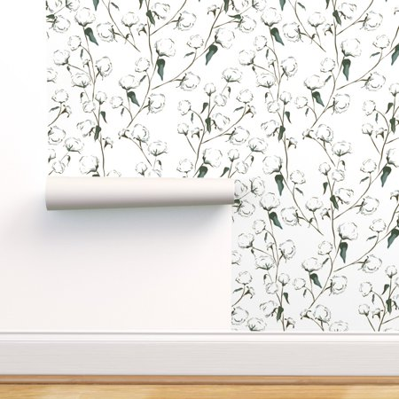 Peel And Stick Removable Wallpaper Field Nature Modern Blue Spring White Walmart Com