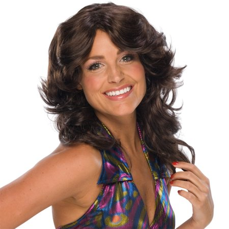 Brown Feathered Wig Charlie's Angels Retro 70s Disco Costume Womens - 70s Disco Wig