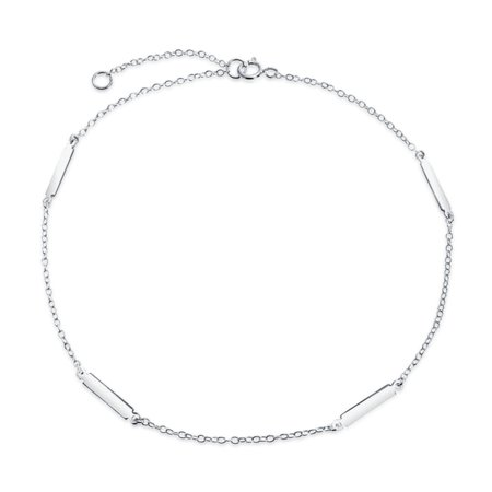 Simple Strong 50 Gauge 925 Sterling Silver Bar Chain Anklet For Teen Ankle Bracelet For Women 9-10 Inch ()