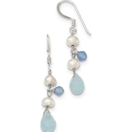 925 Sterling Silver Blue Topaz/Blue Agate/FW Cultured Pearl (7x39mm) Earrings - image 2 de 2