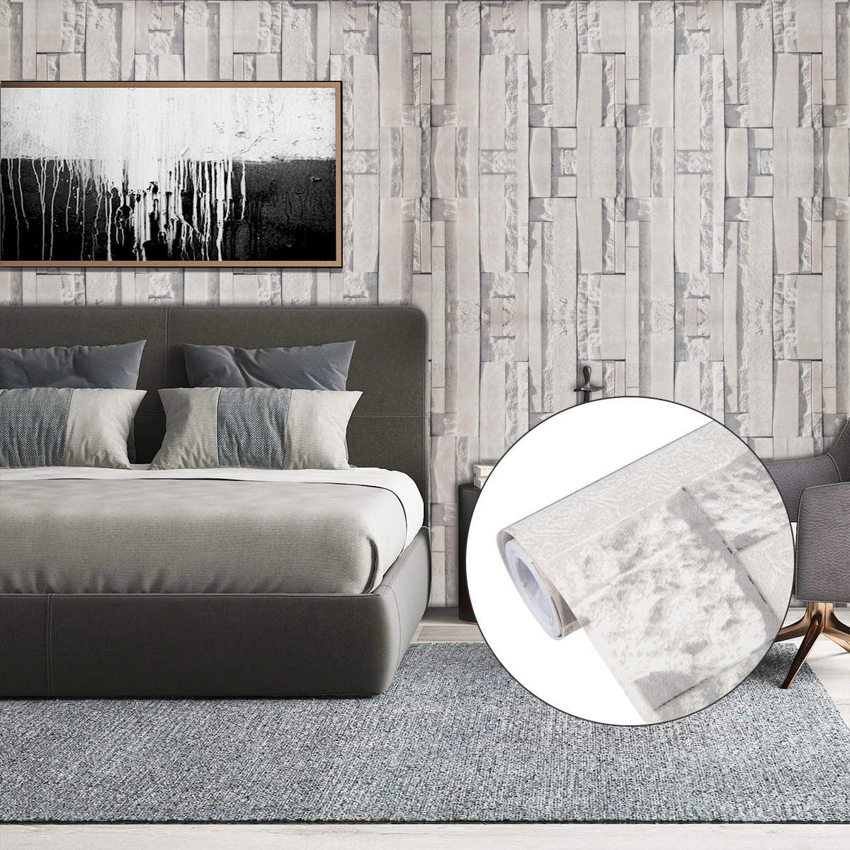 Home Cal Brick Peel And Stick Wallpaper Roll Waterproof Self Adhesive Brick Contact Paper Removable Shelf Paper Pvc Wall Paper Covering 1 48 X 16 4ft Grey Plastic Scraper Included 2 Pack