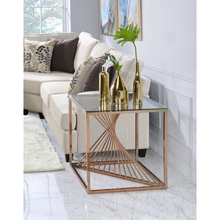 Copper Column Table (ACME Tralen End Table in Brushed Copper and Clear Glass )