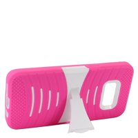 EagleCell Wave Symbiosis Silicone/Plastic Rubber Case Cover w/Stand For Samsung Galaxy S8 - Hot Pink/White