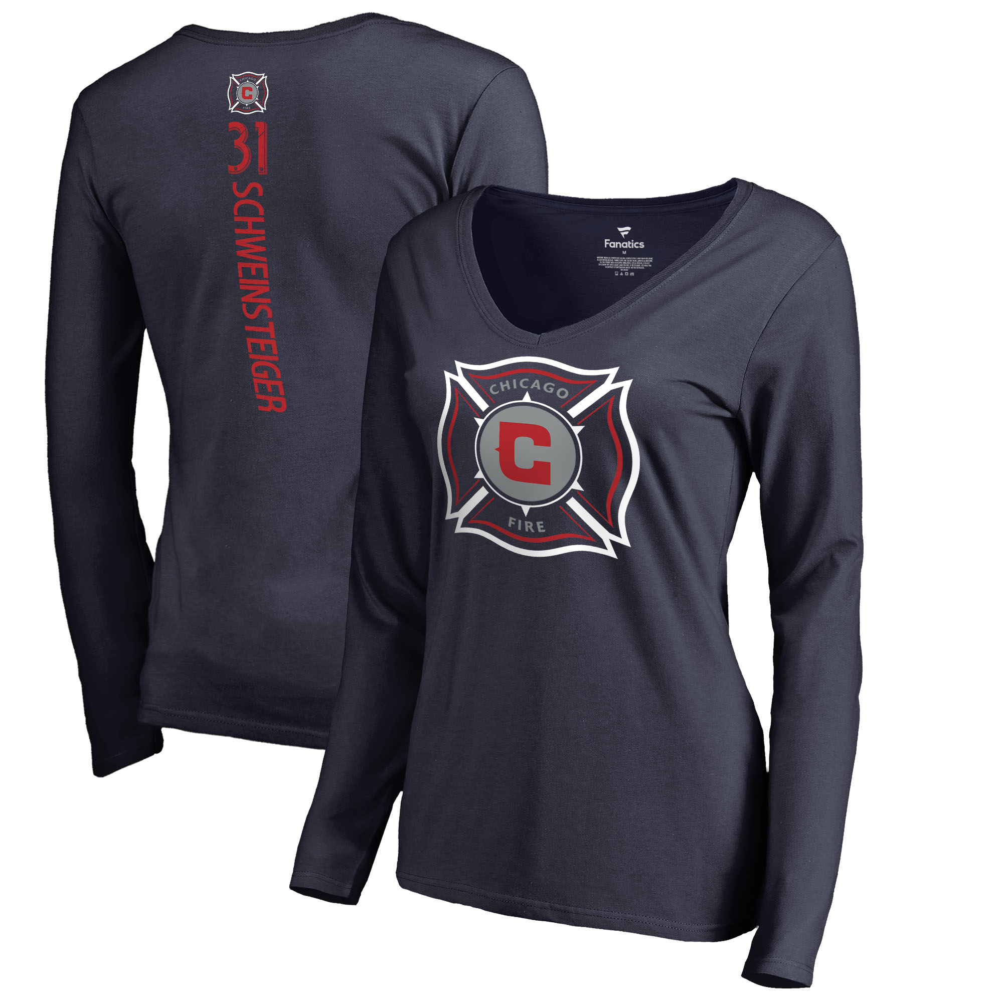 Bastian Schweinsteiger Chicago Fire Fanatics Branded Women's Backer Name & Number Long Sleeve V-Neck T-Shirt - Navy