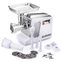STX Turboforce II Black, Model STX-4000-TB2-PD-BL, Quad Air Cooling, Electric Meat Grinder; Sausage Stuffer with Foot Pedal - 6 Grinding Plates, 3 Cutting Blades, Kubbe Sausage Stuffing Tubes