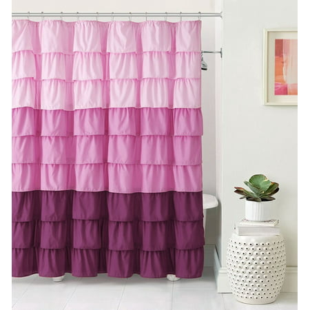 VCNY Gypsy Ruffled Fabric Shower Curtain Pink