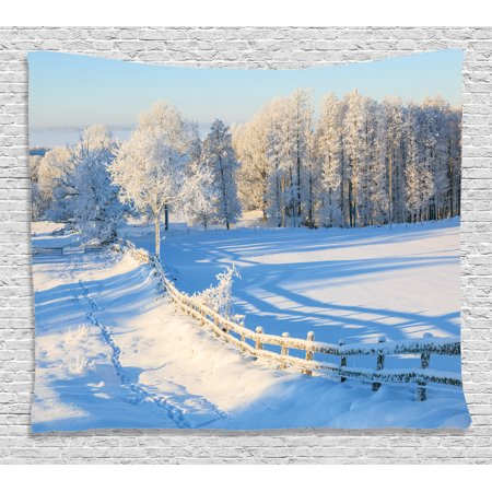 Valley Oak Decor Kit - Farm House Decor Tapestry, Winter Snow Valley with Oak Borders Pines Frozen Pastoral High Cold Lands , Wall Hanging for Bedroom Living Room Dorm Decor, 60W X 40L Inches, White Blue, by Ambesonne