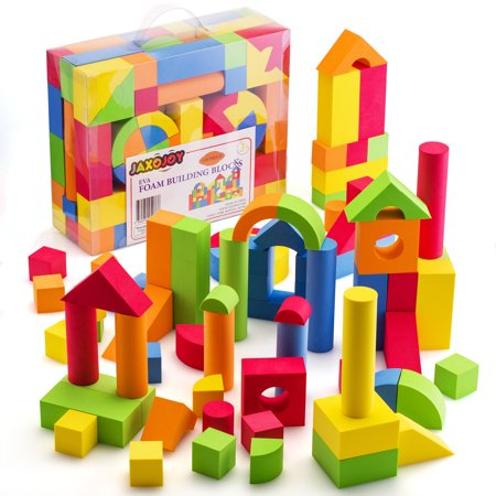 Foam Building Blocks – 108 Piece EVA Foam Brick Gift Playset for Toddlers Includes Large, Soft, Stackable Blocks in Variety of Colors, Shapes & Sizes – Recommended Ages 3+