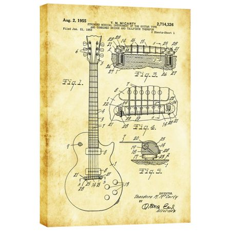 - Williston Forge 'Mccarty Gibson Les Paul Guitar Vintage Patent Blueprint' Print on Wrapped Canvas in Yellow