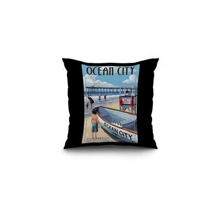 Ocean City, Maryland - Lifeguard Stand - Lantern Press Artwork (16x16 Spun Polyester Pillow, Black - Portable Lifeguard Stand