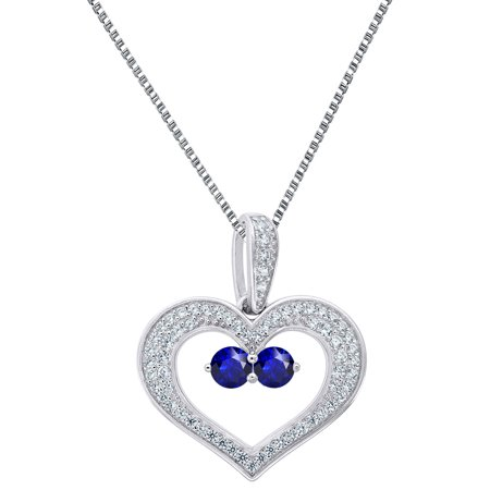 2 Solitaire Blue Cz Heart Pendant Sterling 925 Silver 18 Inch Free Necklace Forever Us