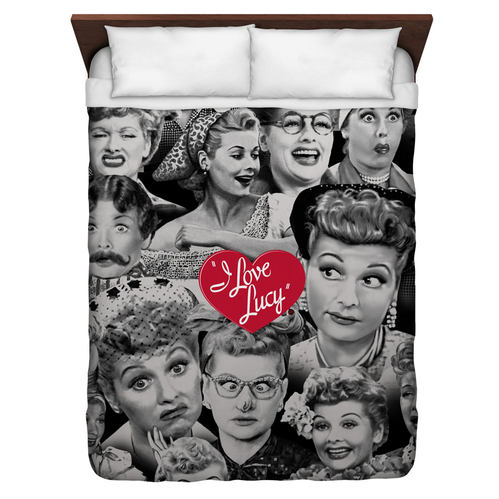 I Love Lucy Faces Queen Duvet Cover White 88X88