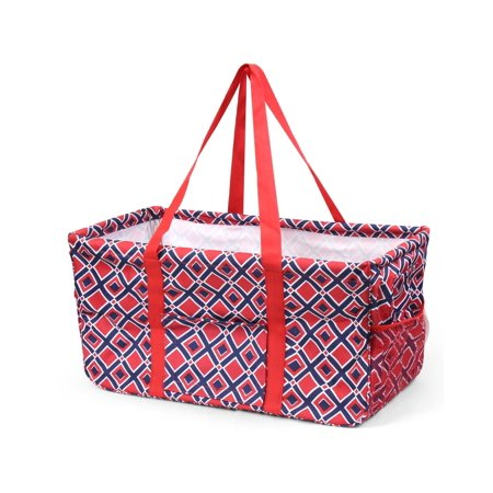 Zodaca Shopping Bag Shoulder Tote Carry Bag for Camping Travel Laundry Lightweight All Purpose Handbag Large Utility Collapsible Wireframe - Red/Navy Times