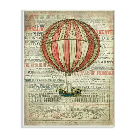 Oversized Balloons (The Stupell Home Decor Collection Vintage Striped Red Balloon Illustration Oversized Wall Plaque Art, 12.5 x 0.5 x)
