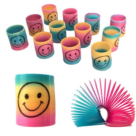 12 Mini Rainbow Smiley Face Springs Slinky Pinata Party Loot Bag Fillers