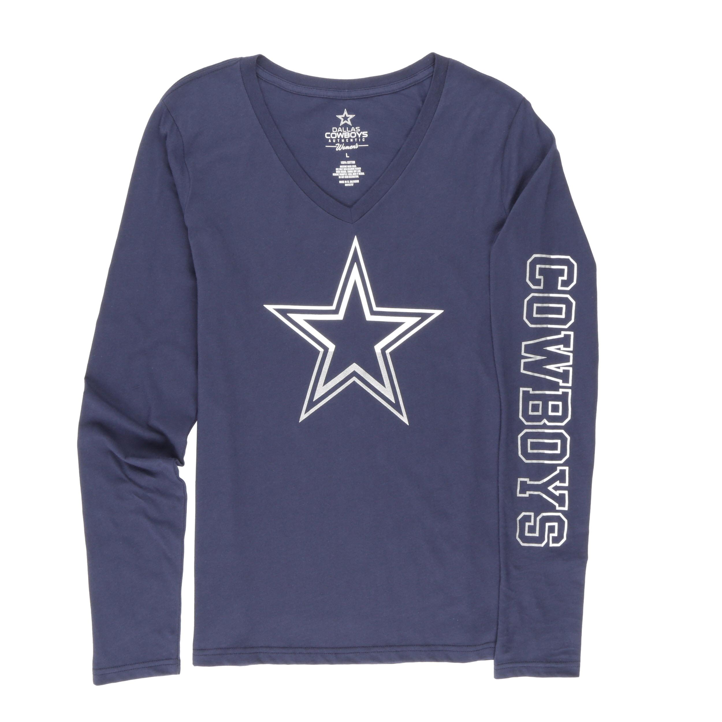 NFL Dallas Cowboys Women's Split Star Long Sleeve Tee Shirt