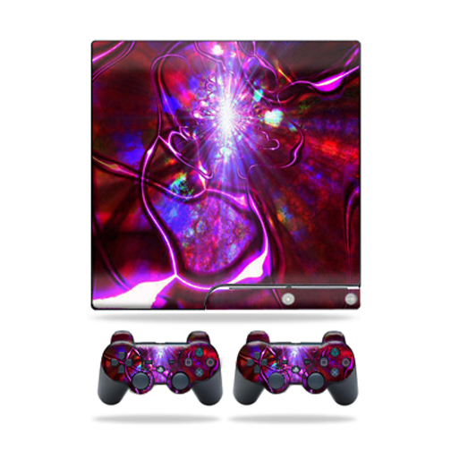 Skin Decal for Sony Playstation 3 PS3 Slim + 2 controllers sticker Crimson Trip