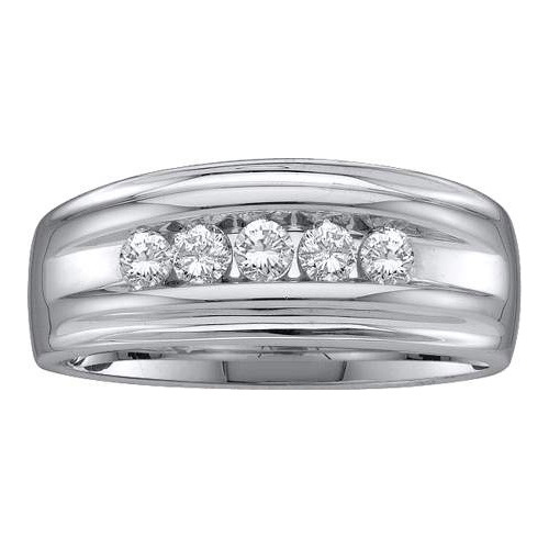 10K White Gold 0.50ctw Channel Set Diamond Mens 5 Stone Engagement Band Ring