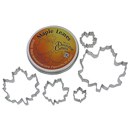 Beautiful Set Of 5 Assorted Size Maple Leaf Cookie Cutters Largest Cutter Is 5   Smallest Is 1 5   By R   M International Ship From Us