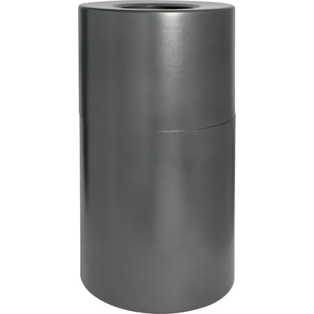 Genuine Joe, GJO58894, Classic Cylinder Gray Waste Receptacle, 1, Charcoal