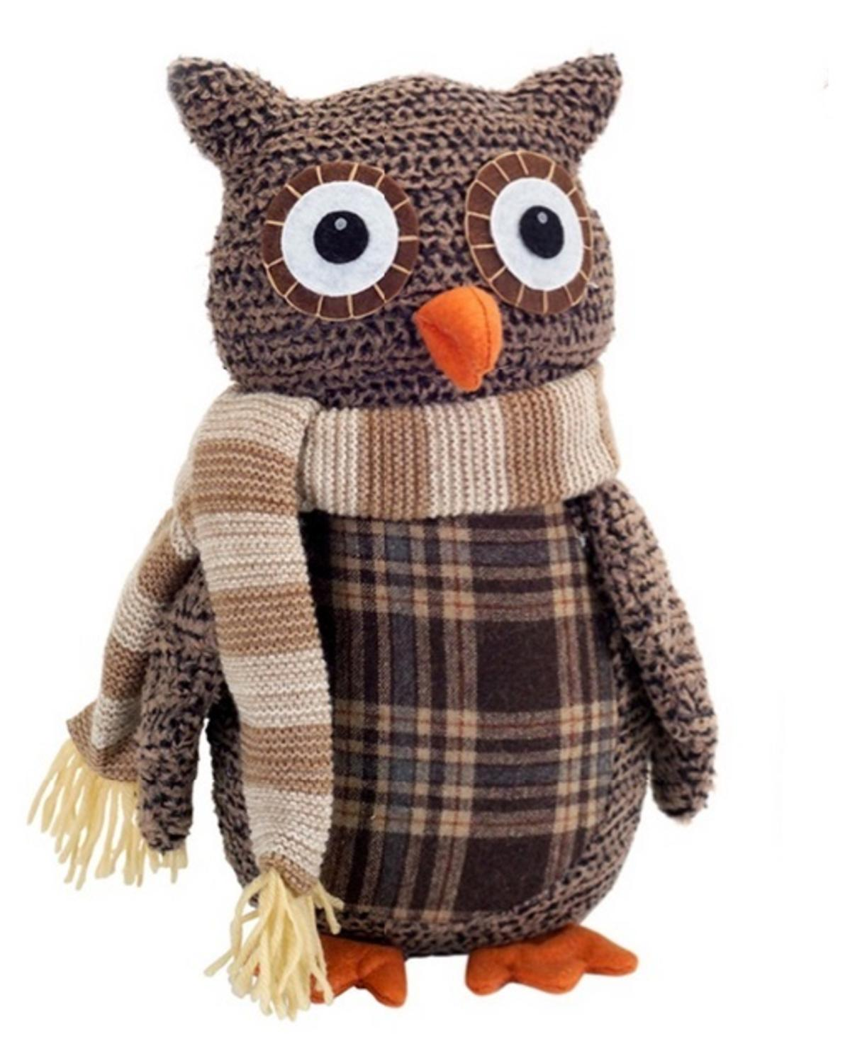 """12.25"""" Country Cabin Decorative Plush Brown and Beige Plaid Owl Christmas Table Top Decoration"""