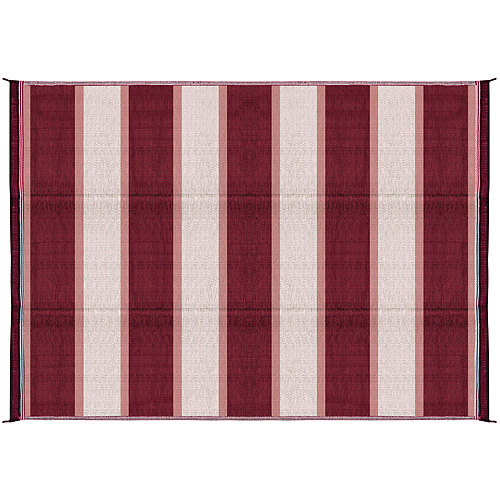 Camco Outdoor Mat, 6' x 9', Burgundy Stripe