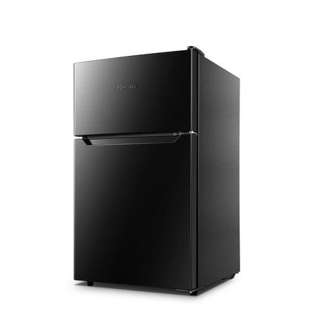 Hisense 3 2 Cu Ft Two Door Mini Fridge with Freezer RT32D6ABE, Black