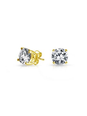Round Cubic Zirconia Brilliant Cut Solitaire AAA CZ Stud Earrings For Women 14K Gold Plated Sterling Silver More 5-10MM