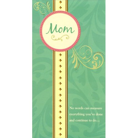 - Designer Greetings Pink Circle on Gold Foil Column: Mom Mother's Day Card