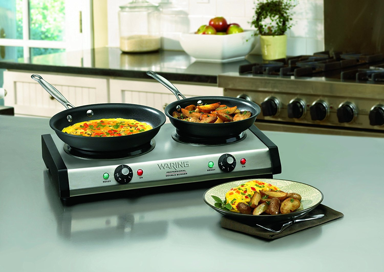 Cuisinart 1800 Watt Countertop Double Electric Burner With 6 Heat Settings And Brushed Stainless Steel Housing