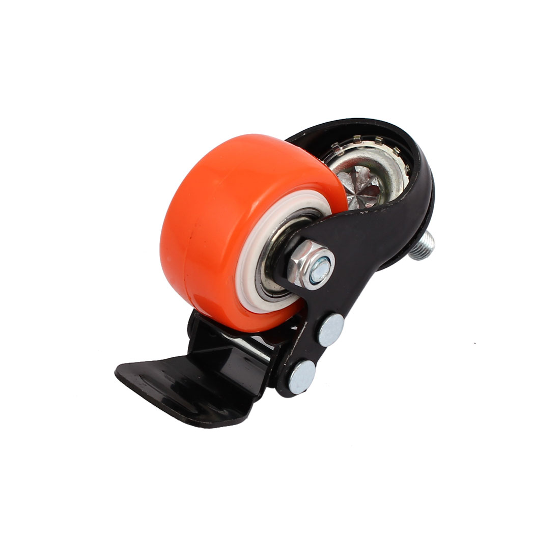 "1.5"" Round Single Wheel 8mm Thread Dia Caster Wheel w Brake Orange 2pcs - image 2 of 3"