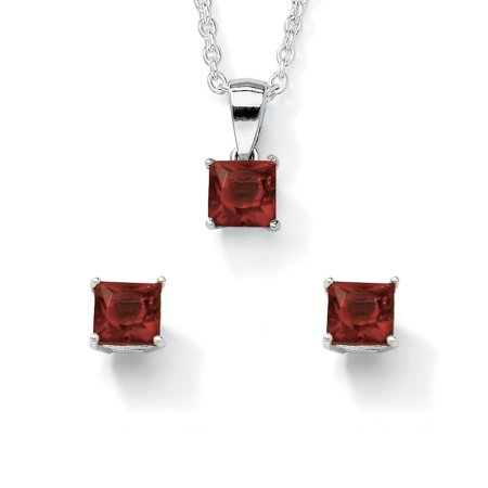 Princess-Cut Birthstone Jewelry Set in .925 Sterling -