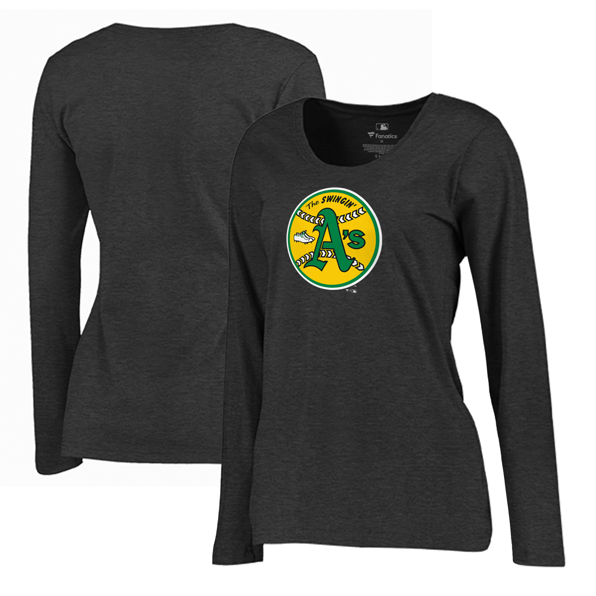 Oakland Athletics Fanatics Branded Women's Plus Size Cooperstown Collection Huntington Long Sleeve T-Shirt - Heathered Gray