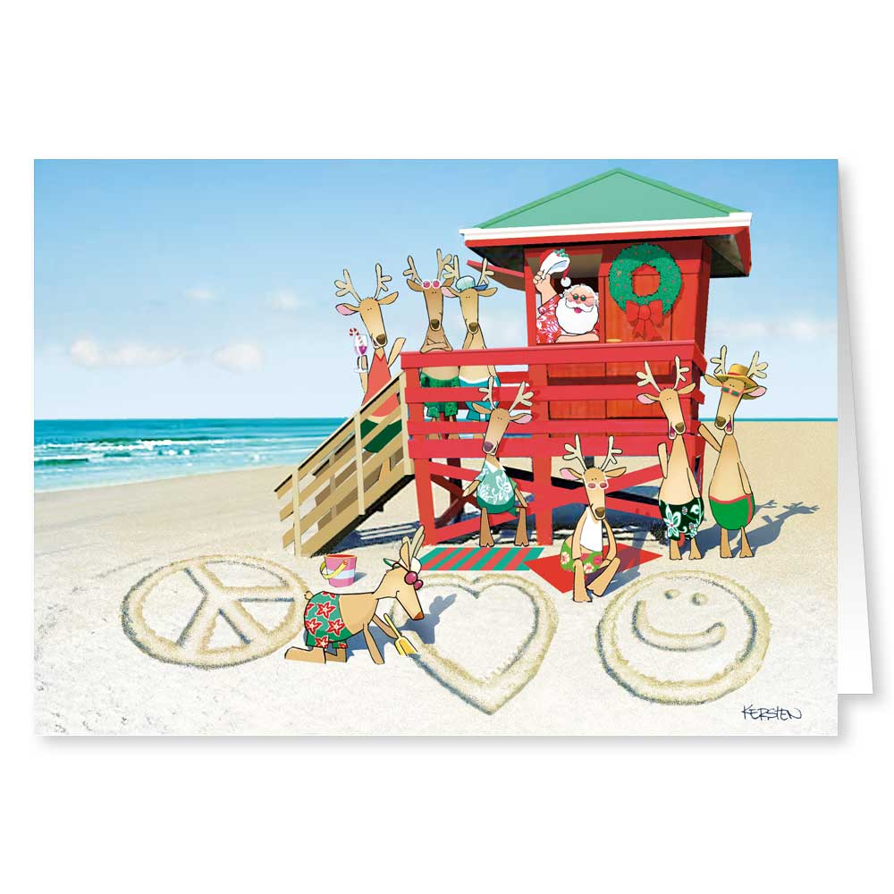 Beach Santa - Peace, Love, Happiness - Funny Holiday Christmas Cards - 18 Cards and 19 Envelopes