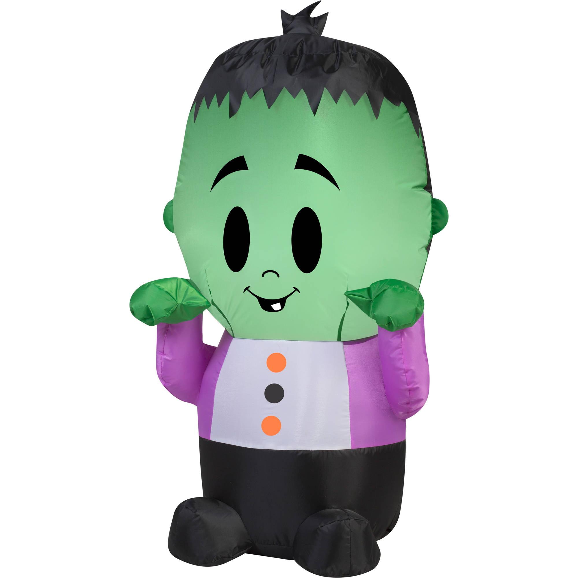 Gemmy Airblown Inflatable 3.5' X 2' Happy Monster Halloween Decoration