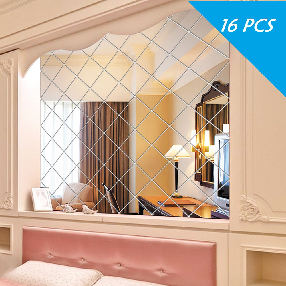 16Pcs 15CM Mirror Glass Tile Wall Stickers Room Decal Self Adhesive Acrylic