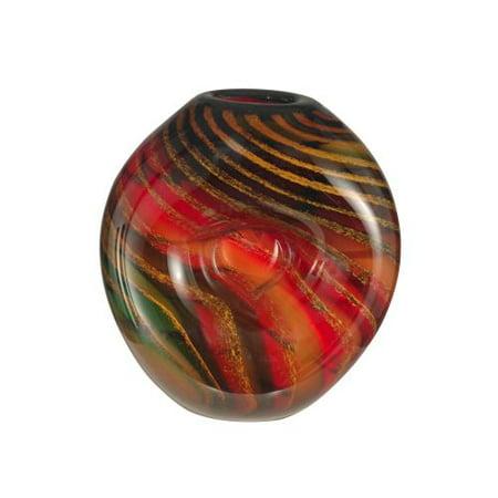 Dale Tiffany AV12038 Striped Heart Vase with Hand Blown Art Glass