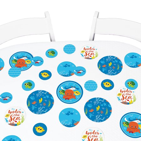 Under The Sea Critters - Baby Shower or Birthday Party Giant Circle Confetti - Party Decorations - Large Confetti 27 Ct (Under The Sea Baby Shower Decorations)