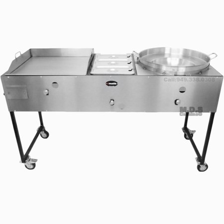 """Ematic Catering Cart 24"""" Griddle 100% Pure Heavy Duty Gauge Steel Commercial Stainless Steel Taco Cart with Steamer and Concave Comal"""