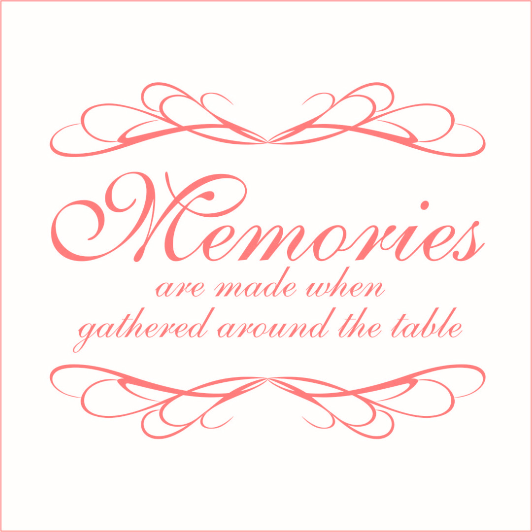 Memories are Made When Gathered Around the Table - Large