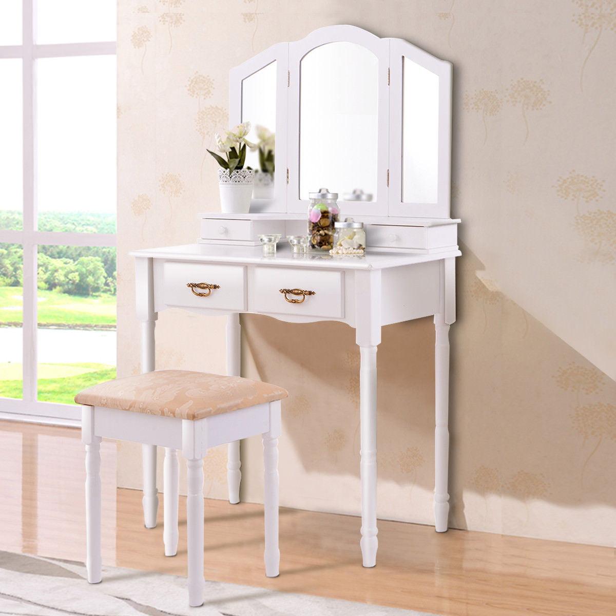 Costway White Tri Folding Mirror Vanity Makeup Table Stool Set bathroom W/4 Drawers