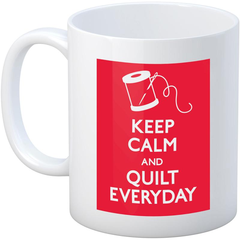Quilt Happy Keep Calm Mug 11oz-white W/red