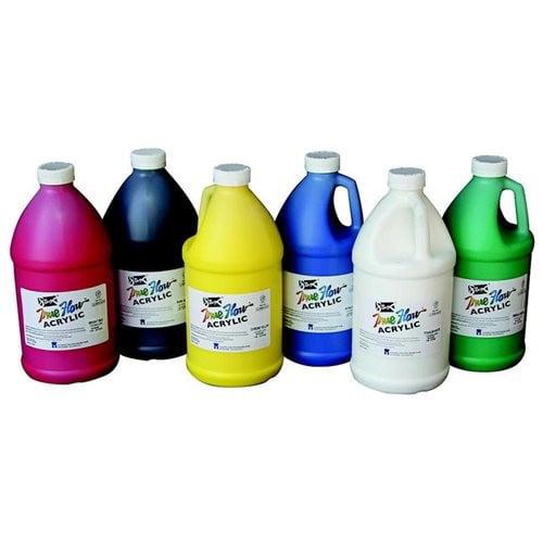 Sax True Flow Non-Toxic Medium Body Acrylic Paint Set, 0.5 gal Plastic Bottle, Assorted Vibrant Color, Set of 6