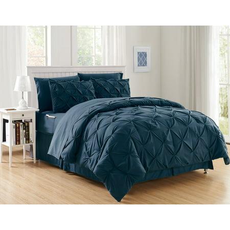 Navy Blue Comforter - Silky Soft Pintuck Bed-in-a-Bag 8-Piece Comforter Set --HypoAllergenic - King Navy Blue
