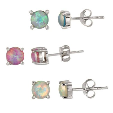 Sterling Silver Multi-colored Created Opal Stud Earring (Sterling Silver Created Opal Earring)